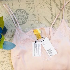 NWT H&M Satin Powder Pink Blush Camisole Lace Top